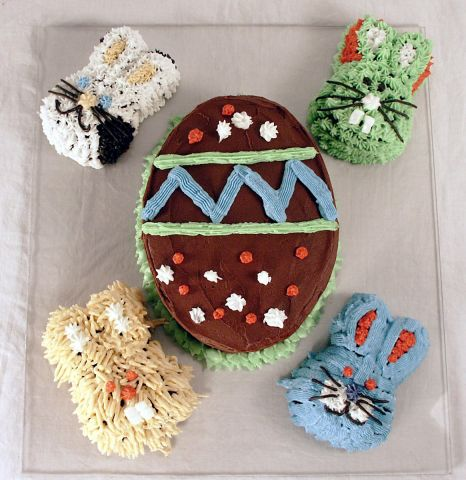 Bunnies and Easter Egg Cake