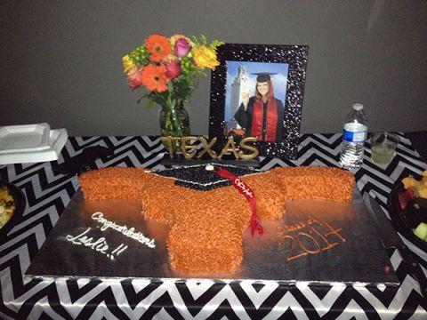 University of Texas Longhorn Graduation Cake, carved longhorn