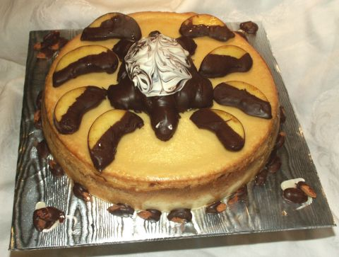 Amaretto  Peach Cheese Cake with Chocolate Turtle