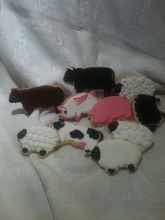 pig cookie, farm cookies, cow cookies, sheep cookies, black sheep, flying pig cookie