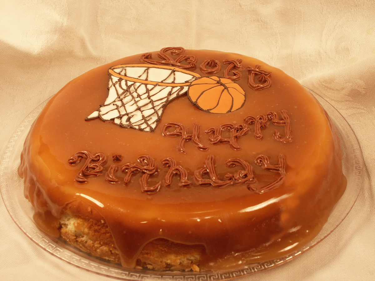 Cheese Birthday Cake with Basketball Theme Texas Rose Bakery