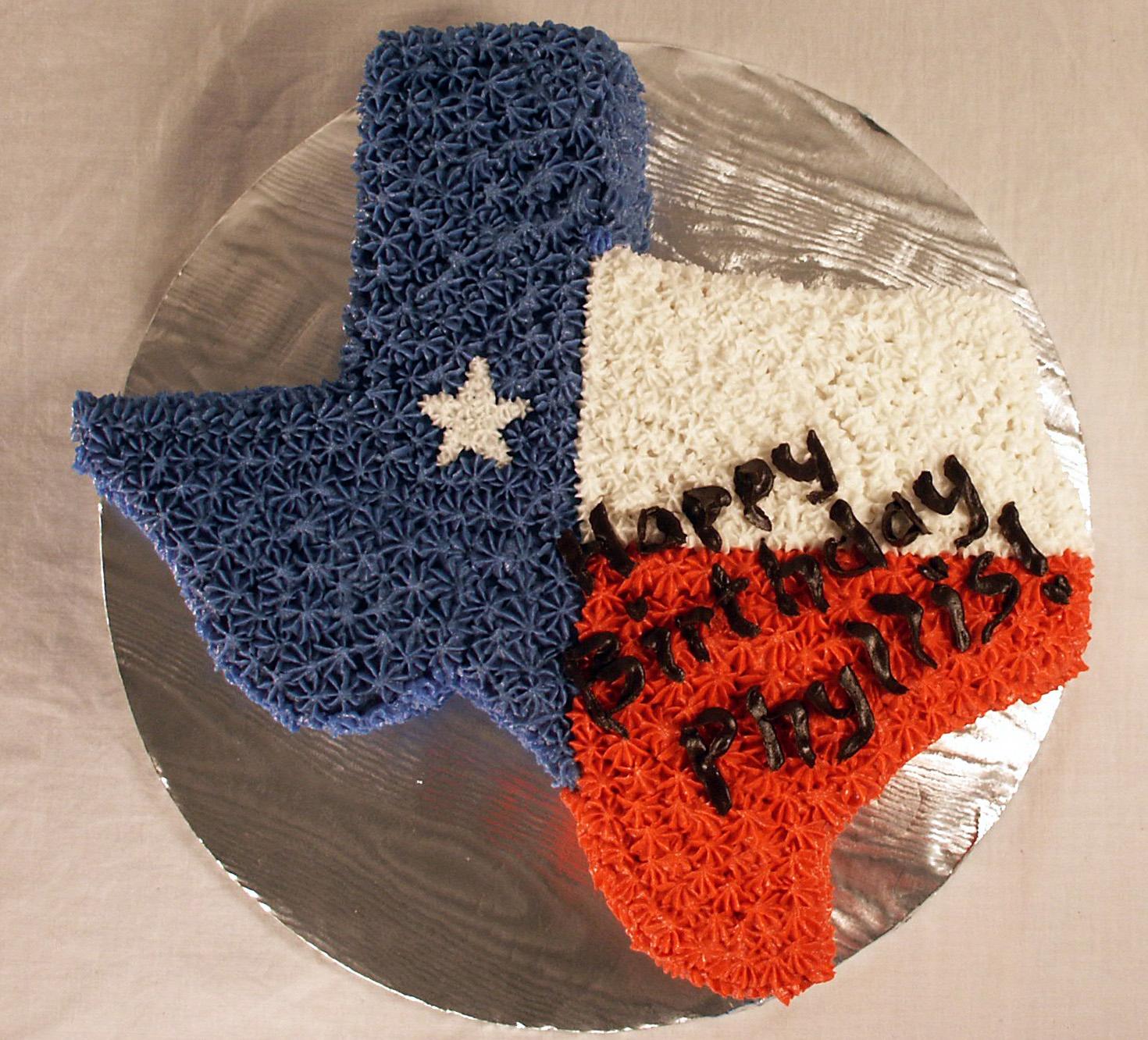 Strange Texas Birthday Cake Texas Rose Bakery Personalised Birthday Cards Veneteletsinfo